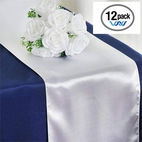 Wavewater White Satin Table Runners 12-Pack (12 x 108 inch) Long, Elegant, Decorative Party Decor | Wedding, Banquet, Graduation, Business Events | Fits Rectangular & Round - Premier Satin Ivory