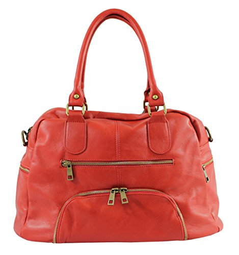 OH MY Rouge femme souple BAG en à main Sac cuir gFS1nqTgW