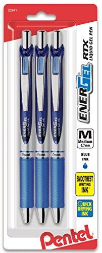 (Pentel EnerGel Deluxe RTX Gel Ink Pens, 0.7 Millimeter Metal Tip, Blue Ink, 3-Pack (BL77BP3C))