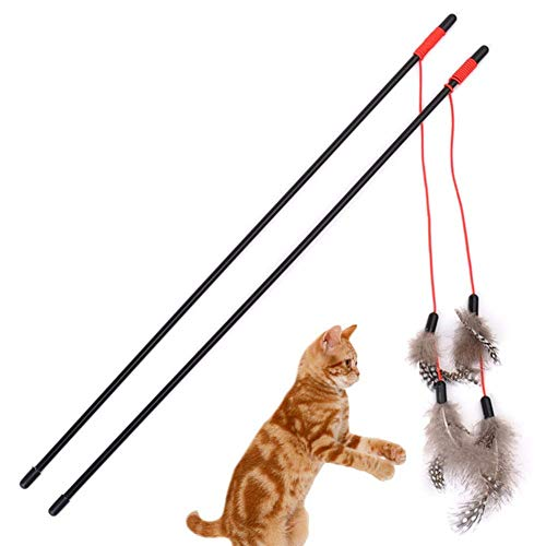 LAAT Interactive Feather Toy Artificial Feather Teaser with Cat Bells 2 PCS (Random Color)