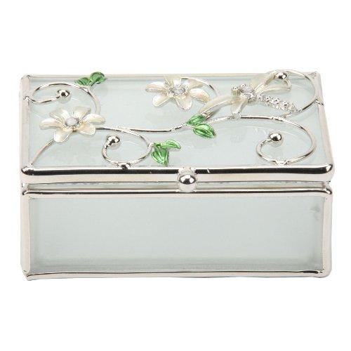 Glass Trinket (Juliana Cream Dragonfly and Diamante Glass Trinket Box Gift 14398 )