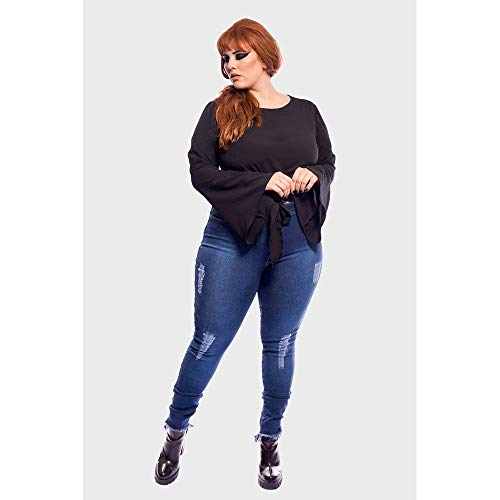 Calça Jeans Cintura Alta Super Skinny Destroyed Plus Size Azul-48 90704ca50aa