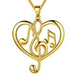 Beautlace Women's Musical Note Necklace 18K Gold Plated Love Heart Treble Clef Music Note Pendant Jewelry Gifts for Music Lover KP0057Y (Color: Heart)