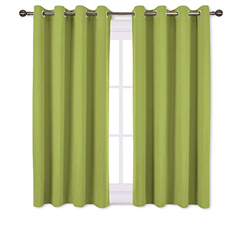 NICETOWN Green Blackout Curtains for Windows - Home Decor Thermal Insulated Solid Grommet Top Blackout Curtains/Panels/Drapes for Kid's Room (1 Pair, 52 x 45 inches in Fresh Green) (Curtains Green Drapes Lime)