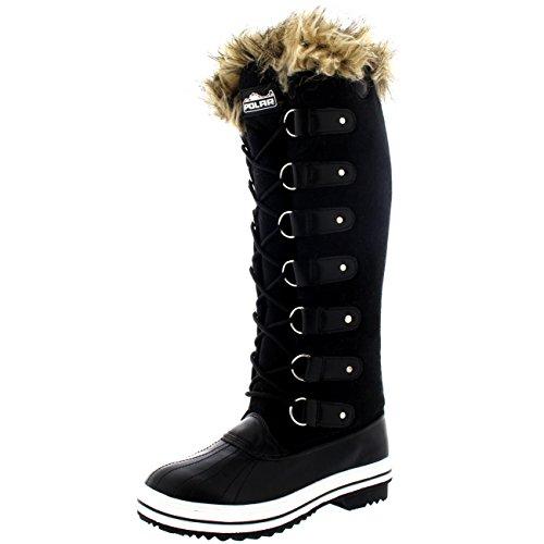 Mujer Manguito De Piel Cordones Caucho Altura De La Rodilla Zapato Bota Negro Suede