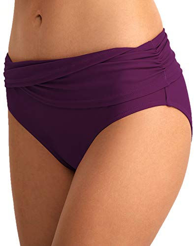 (Women's Bikini Bottom Front Crossover Retro Bikini Bottom Tankini Briefs Swimsuit Panty Bottoms Purple XL)