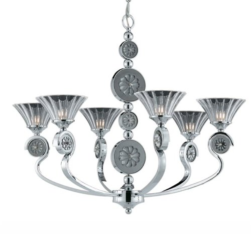 Triarch Crystal Pendant - Triarch International Lighting 39413 Medallion 6-Light Chandelier, Chrome Plated Finish with Black Nickel Accents and Crystal Glass Fluted Shades