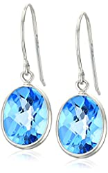 14k White Gold Contemporary Bezel Set Design Oval Swiss-Blue-Topaz Drop Earrings
