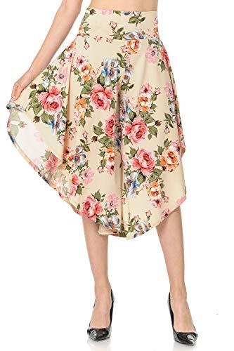 Ladybug Women's Layered Wide Leg Flowy Cropped Palazzo Pants, 3/4 Length High Waist Palazzo Wide Legs Capri Pants (3X, 1069-2) ()