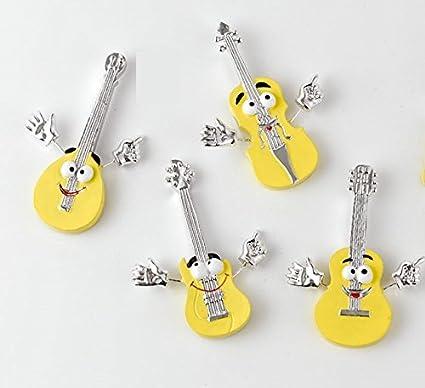 12 piezas Guitarra Violín Mandolina Emoji Emoticon Imán Imán Resina