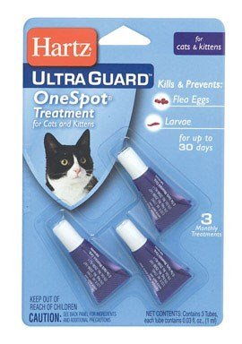 Hartz UltraGuard OneSpot Flea Egg and Larvae Treatment, Cats and Kittens, 0.03 oz, Pack of 3