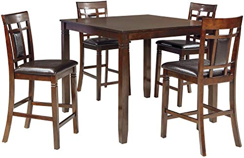 - Ashley Furniture Signature Design - Bennox Counter Height Dining Room Table and Bar Stools (Set of 5) - Brown