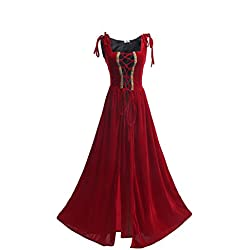 ROLECOS Womens Irish Overdress Renaissance Medieval Burgundy Over Dress Coat Red M