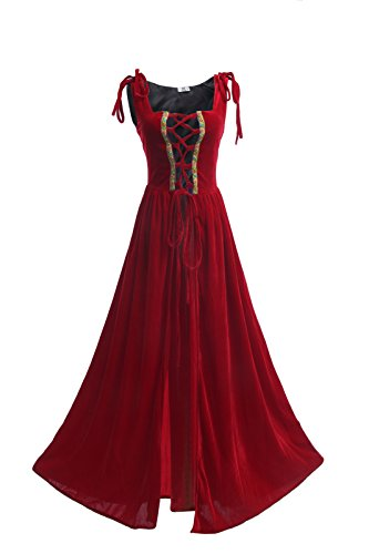 ROLECOS Womens Irish Overdress Renaissance Medieval Burgundy Over Dress Coat Red S/M