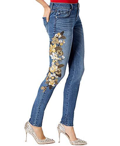 INC International Concepts Embroidered Skinny Jeans (Indigo, 16)