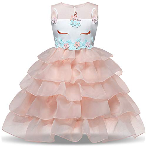 NNJXD Flower Girls Unicorn Costume Pageant Princess Party Ruffles Dress Size (140) 6-7 Years Peach