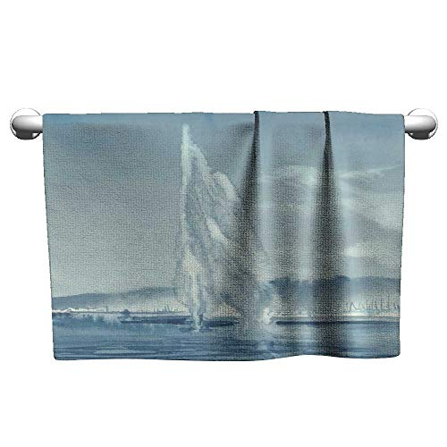 homecoco Pool Towels Geneva Lake Landscape with Fountain and Mountains Watercolor Beach Towels for Kids 27 x 55 Inch