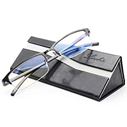 Livho Blue Light Blocking Glasses,Transparent Lens,Computer Glasses,Anti Eyestrain/Anti Scratch/Anti UV Ray,Sleep Better for Women Men (Gun) - 0.0 Magnification