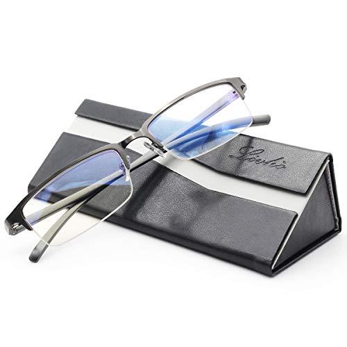 Livho Blue Light Blocking Glasses,Transparent Lens,Computer Glasses,Anti Eyestrain/Anti Scratch/Anti UV Ray,Sleep Better for Women Men (Gun) - 0.0 Magnification (Computer Glassses)