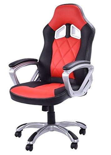 41cQ8LVDaPL - KA-Company-Chair-Style-High-Back-Gaming-Racing-Ergonomic-Office-Leather-Pu-Swivel-Computer-Executive-360-Degree-5-Wheels-Mesh-Bucket-Seat-Red
