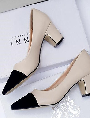 GGX/Damen Schuhe PU Sommer Heels Heels Casual geschoben Ferse andere schwarz/weiß/mandel almond-us7.5 / eu38 / uk5.5 / cn38