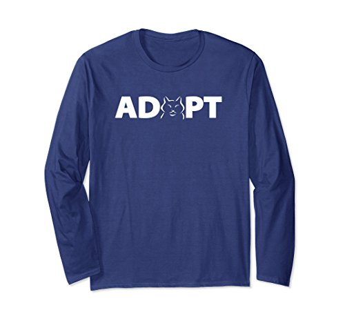Adopt Cat (Unisex Adopt a Cat Long Sleeve T-shirt Large Navy)