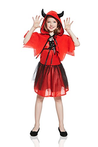 Kids Girls Little Devil Costume Shoulder Cape Halloween Party Evil Demon Dress Up (3-6 years, Red)