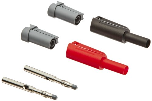 Cal Test Electronics CT3206W 4mm DIY Safety Stacking Sheathed Banana Plug Set with Allen Wrench, 36 Amp, Black and Red Pair (Sheathed Plug)