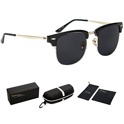 Dollger Classic Polarized Clubmaster Sunglasses Horn Rimmed Half Frame … Stainless Arm+black Lens+gloss Black Frame