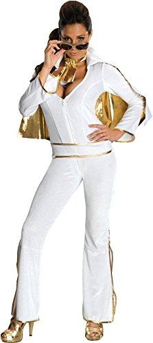 s Sexy Female Elvis Costume, White, Medium ()