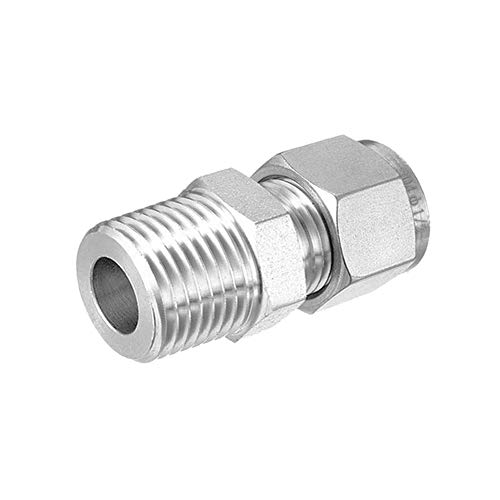 """Beduan 304 Stainless Steel Compression Tube Fitting, 12mm Tube OD x 1/2"""" NPT Male Air Compression Ferrule Fitting (Pack of 1)"""