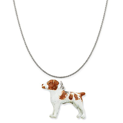 Mireval Silver Enamel Brittany Spaniel Charm on a Sterling Silver Rope Chain Necklace, 16