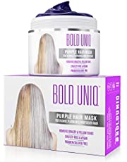 Purple Hair Mask for Blonde, Platinum, Silver Hair - Banish Yellow Hues: Blue Masque to Reduce Brassiness and Condition Dry, Damaged Hair - Sulfate-Free Toner (7 Fl.Oz /200 ml)