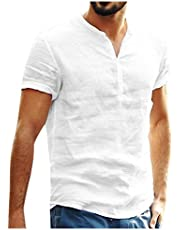 DUe Mens Casual Henley T Shirts Loose Short Sleeve Blouse Top