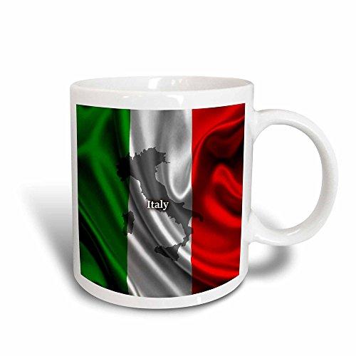 3dRose 204475_3 Italian Flag Design Mug, 11 oz, Black/White