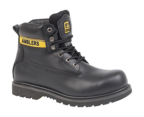 Amblers Steel Lace-Up Textile Lined Womens Boots - Black - Size 4