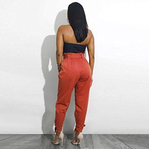 Inclusa Puro Libero Pants Swag Semplice Pantalone Braun Colore Pantaloni Pantaloni Stoffa Pantaloni Cintura Trousers Glamorous Pantaloni Tempo Estivi Tendenza Donna Elegante Fashion Streetwear Lunghi Di 7nwg67Y