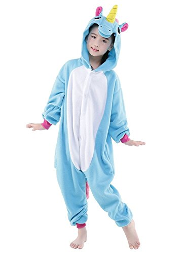 "Animal Dance Costumes - Kids Pajamas Animal Onesie Unisex Unicorn Halloween Costume Children Cosplay (#105(L) height 110-120cm (43""-47""), Blue Horse)"