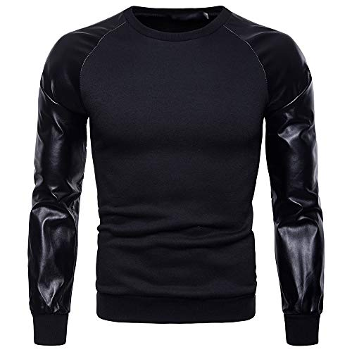 Longues T Hiver shirt Rond Homme Col Tops Cuir Manches Noir Hommes Bozevon Pu Sweat Pullover Automne shirt vOYYqn6