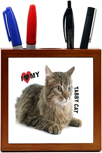 Rikki Knight I Love My Tabby Cat Design 5 inch Tile Wooden Tile Pen Holder (Tabby Tiles)