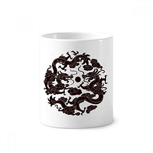 - Two Chinese Dragon Animal Pearl Circle Toothbrush Pen Holder Mug White Ceramic Cup 12oz