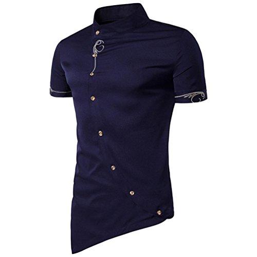 Irrégulier T Oblique Pure Men Top Taille Grande Chemises Manches Été Tuxedo Slim Shirts Shirt Collar Button Mandarin shirts Homme Marine Casual Adeshop Couleur Vêtements Courtes qwPUIBw