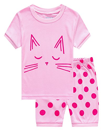 Family Feeling Cat Summer Big Girl 2 Piece 100% Cotton Short Pajamas Set clothes Kid Pjs Size 9 Years Pink
