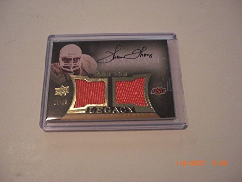 - Thurman Thomas Osu 2013 Ud Quantum Game Used Dual Jersey Auto 11/15 Signed Card - Football Game Used Cards