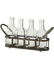 ReWu Theelichthouder lantaarn van roestig metaal met 4 heldere glazen flessen in vintage industriële look