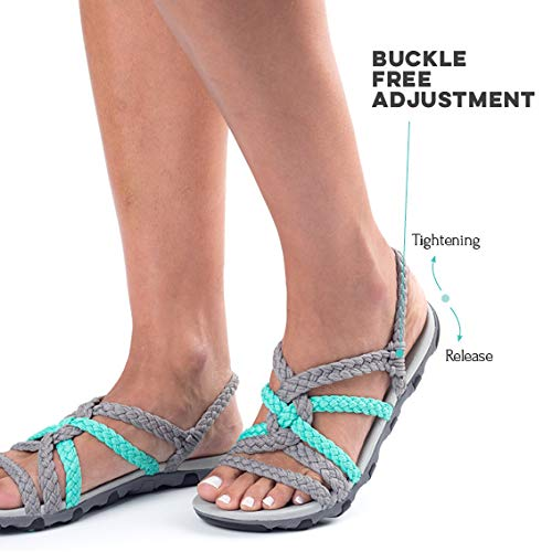 Pictures of Plaka Hiking SandalsWomen Urban Gray Turquoise Size 4