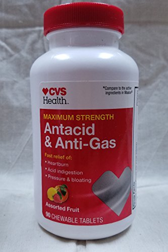 CVS Health Antacid and Anti-Gas Chewable Tablets Maximum Strength, 90CT Assorted Fruit