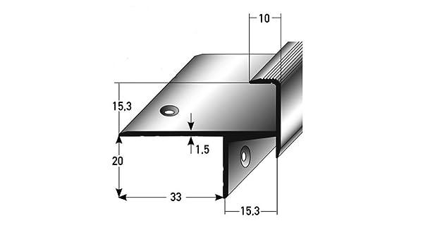 3 metros (3 x 1 m) - Perfil de escalera / Perfil angular / Mamperlán (parquet / laminado), elevación: 15,3 mm, 33 mm de ancho, aluminio anodizado, perforado - color: dorado: Amazon.es: Hogar