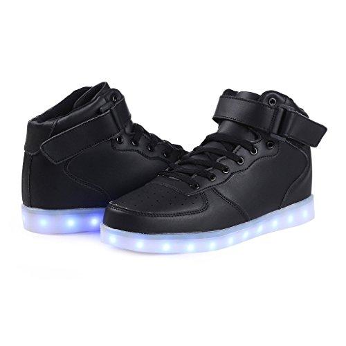Bunte leuchtende Schuhe USB Lade Blitz Schuhe hoch, um Magie Board Schuhe zu helfen Schwarz High Top 2