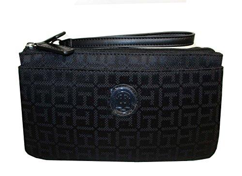 wristlet wallet bag black canvas double zip